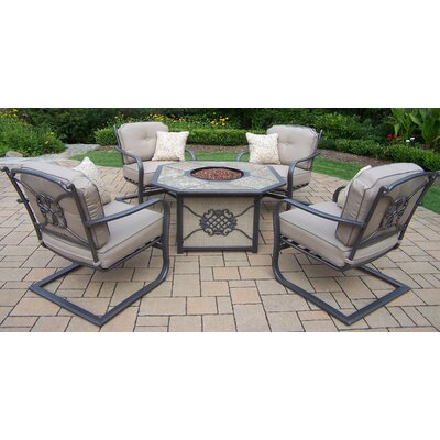 5 Piece Deep Seating Chat Set with Cushions