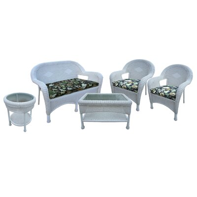 Resin Wicker 5 Piece Seating Group with Cushions Finish: White