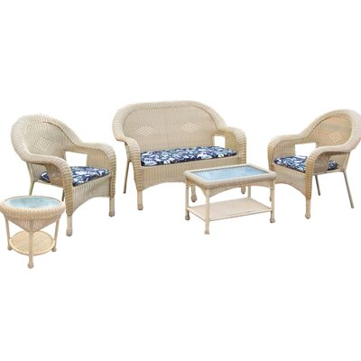 Resin Wicker 5 Piece Seating Group with Cushions Finish: Honey