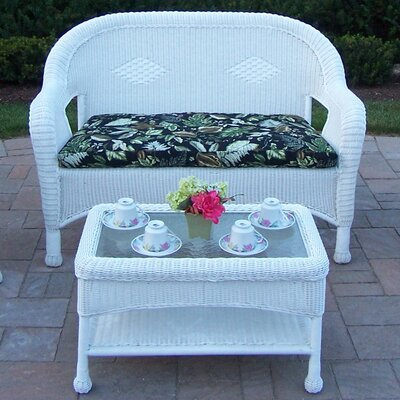 Resin Wicker 2 Piece Seating Group with Cushion Finish: White