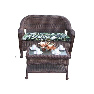 Resin Wicker 2 Piece Seating Group with Cushion Finish: Coffee