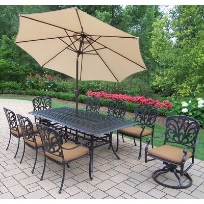 Bosch 9 Piece Dining set Umbrella Color: Beige, Cushion Color: Sunbrella Spunpoly