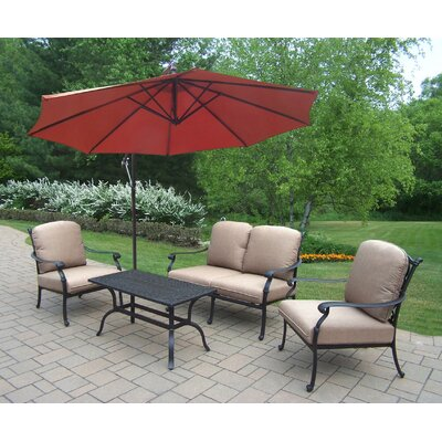 Bosch Aluminum 4 Piece Deep Seating Group with Cushions Cushion Fabric: Standard - Tan