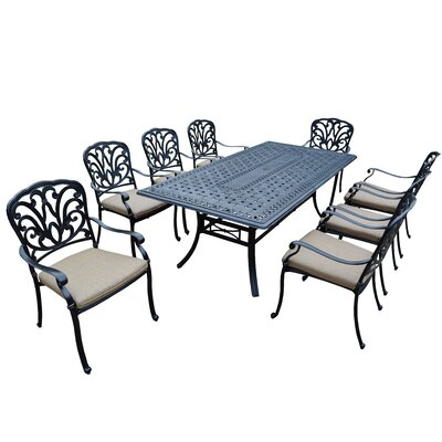 Bosch 9 Piece Dining Set with Cushion Cushion Fabric: Standard - Tan
