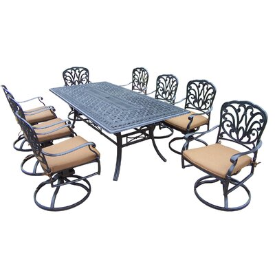 Hampton 9 Piece Dining Set with Cushion Cushion Fabric: Sunbrella - Tan