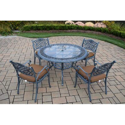 Mississippi 5 Piece Dining Set with Cushions Cushion Fabric: Sunbrella - Tan