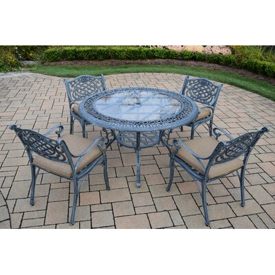 Mississippi 5 Piece Dining Set with Cushions Cushion Fabric: Standard - Tan