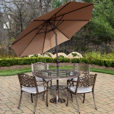 Mississippi 5 Piece Dining Set with Cushions Umbrella Color: Champagne