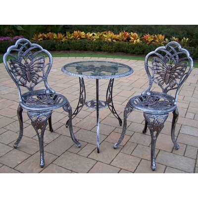 Butterfly 3 Piece Bistro Set Finish: Antique Pewter
