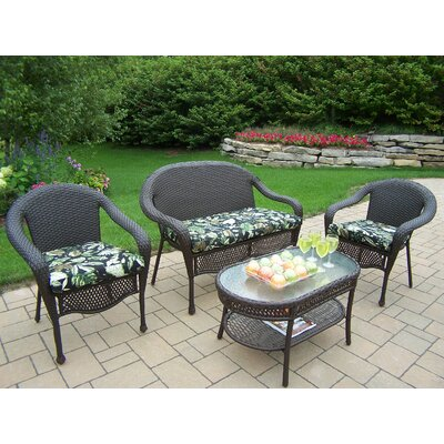 Elite 4 Piece Deep Seating Group Set Fabric: Floral