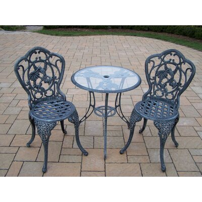 Hummingbird 3 Piece Bistro Set Finish: Verdi Grey