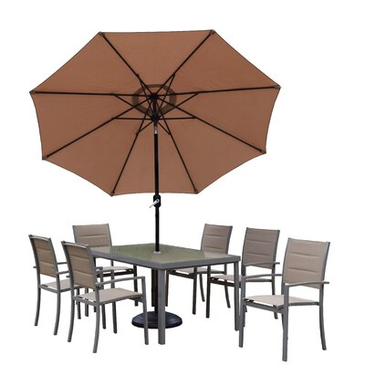 Padded Sling 9 Piece Dining Set Umbrella Finish: Black