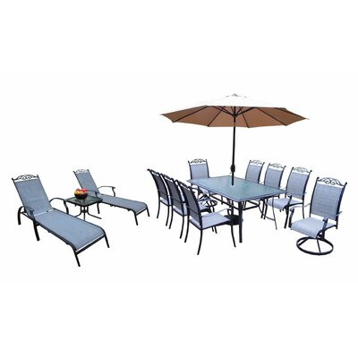 Basile Aluminum Framed 9 Piece Dining Set with Umbrella Umbrella Color: Black