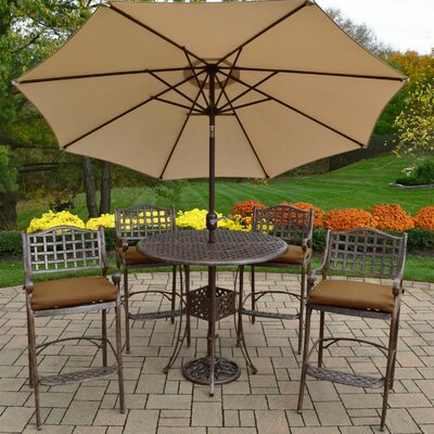 Braddock 7 Piece Cast Aluminum Outdoor Bar Set Finish: Beige