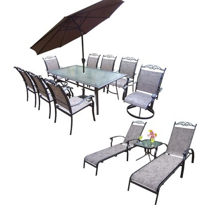 Basile Aluminum Framed 9 Piece Dining Set with Umbrella Umbrella Color: Brown