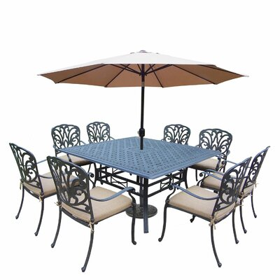 Bosch Aluminum 9 Piece Dining Set with Cushions DABY7498 40161395