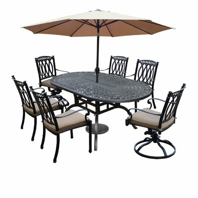 Otsego 7 Piece Rust-Free Aluminum Dining Set with Cushions DABY8382 40263744
