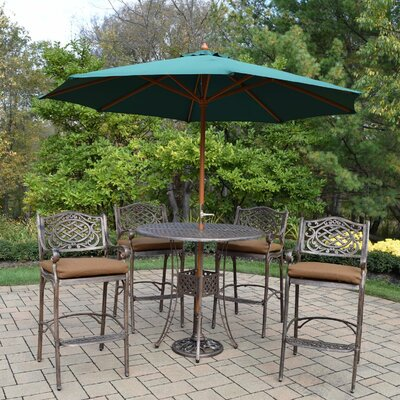 Braddock Comfortable 7 Piece Cast Aluminum Bar Set Finish: Green
