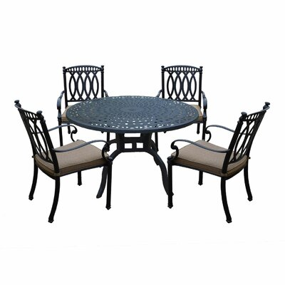 Otsego 5 Piece Rust-Free Aluminum Dining Set with Cushions