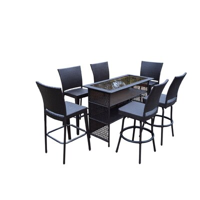 Parishville 7 Piece All Weather Resin Wicker Bar Set