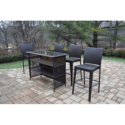 Parishville 5 Piece All Weather Resin Wicker Bar Set