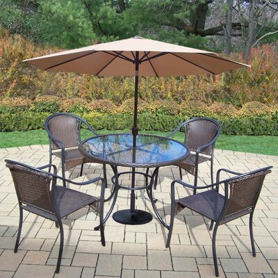 Parishville 5 Piece Durable All Weather Resin Wicker Dining Set with Umbrella Umbrella Color: Beige