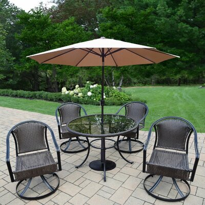 Parishville 5 Piece All Weather Resin Wicker Dining Set with Umbrella Umbrella Color: Beige