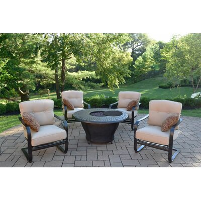 Owego 7 Piece Cast Aluminum Conversation Set with Cushions