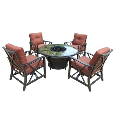 Paxtonville 8 Piece Aluminum Conversation Set with Cushions Finish: Black