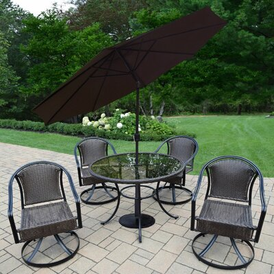 Parishville 5 Piece All Weather Resin Wicker Dining Set with Umbrella Umbrella Color: Brown