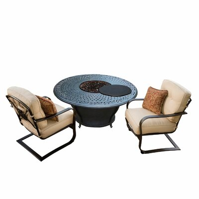 Owego 6 Piece Cast Aluminum Conversation Set with Cushions