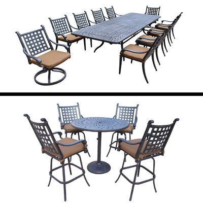 Arness 16 Piece Metal Dining Set and Bar Set