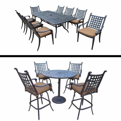 Arness 14 Piece Metal Dining Set and Bar Set