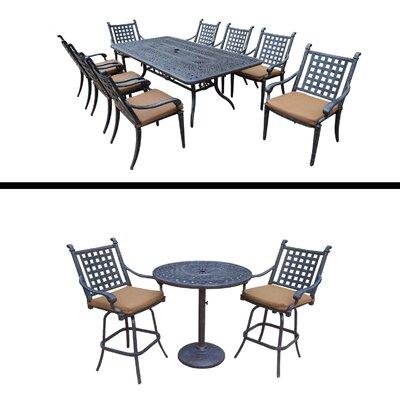 Arness 12 Piece Checkered Dining Set and Bar Set