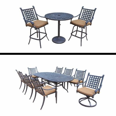 Arness 12 Piece Metal Dining and Bar Set