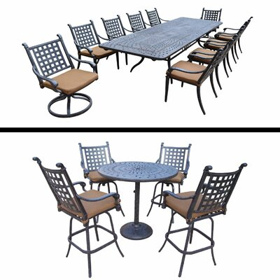 Arness 16 Piece Black Dining Set and Bar Set
