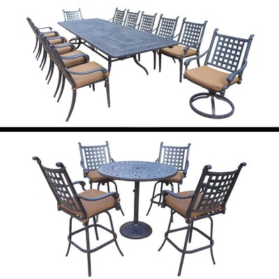 Arness 18 Piece Metal Dining Set and Bar Set