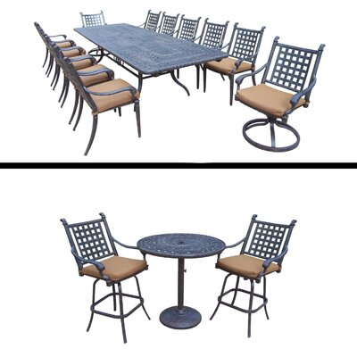 Arness 16 Piece Checkered Dining Set and Bar Set