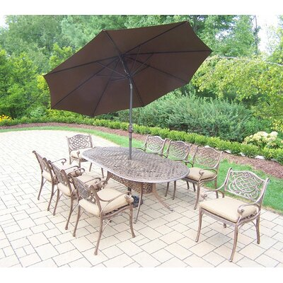 Mississippi 9 Piece Dining Set with Cushions Cushion Color: Sunbrella Spunpoly, Umbrella Color: Brown