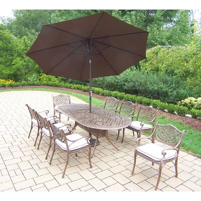 Mississippi 9 Piece Dining Set with Cushions Umbrella Color: Brown, Cushion Color: Oak Meal