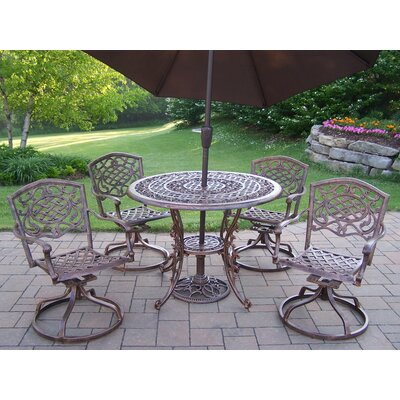 Mississippi Dining Set with Umbrella Umbrella Color: Brown