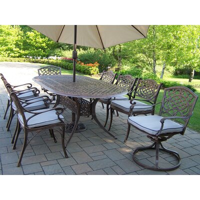 Mississippi Dining Set with Cushions and Umbrella Umbrella Color: Beige
