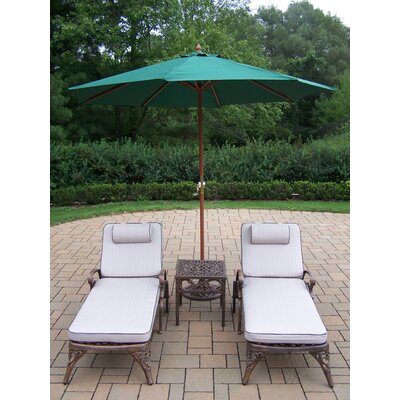 Mississippi 5 Piece Lounge Seating Group Set Umbrella Fabric: Green