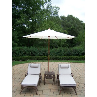 Mississippi 5 Piece Lounge Seating Group Set Umbrella Fabric: White