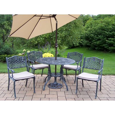 Tea Rose 6 Piece Dining set with Cushions and Umbrella