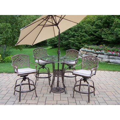 Hummingbird Mississippi Swivel Bar Set with Cushions and Umbrella Umbrella Color: Beige