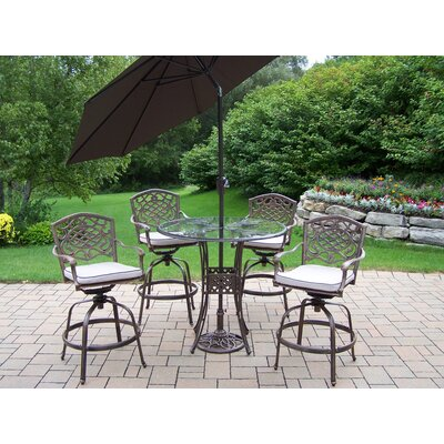 Hummingbird Mississippi Swivel Bar Set with Cushions and Umbrella Umbrella Color: Brown