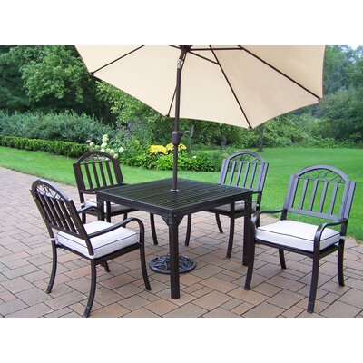Rochester 7 Piece Dining Set with Cushions and Umbrella Umbrella Color: Beige