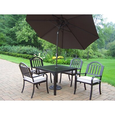 Rochester 7 Piece Dining Set with Cushions and Umbrella Umbrella Color: Brown