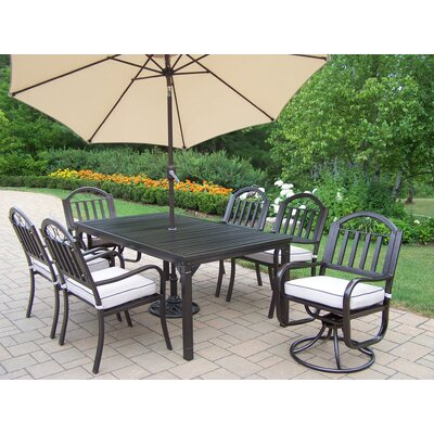 Rochester 9 Piece Dining Set with Cushions and Umbrella Umbrella Color: Beige